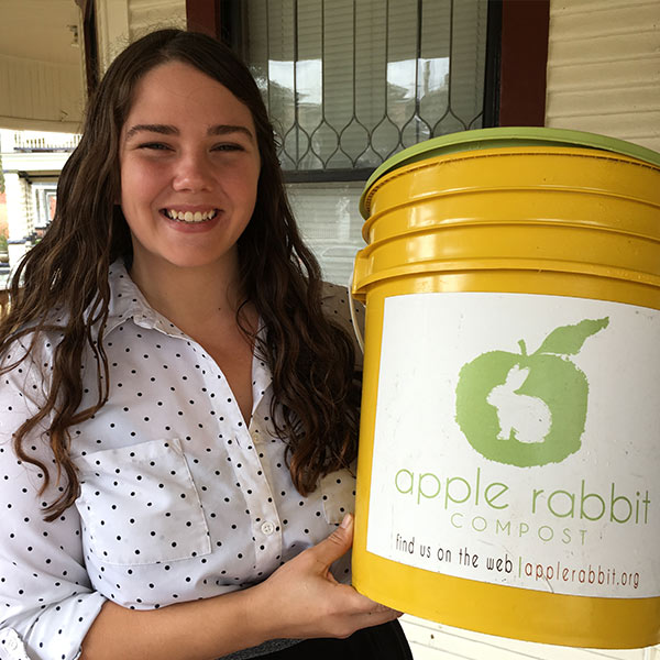 Tiffany Bess with her Apple Rabbit compost container