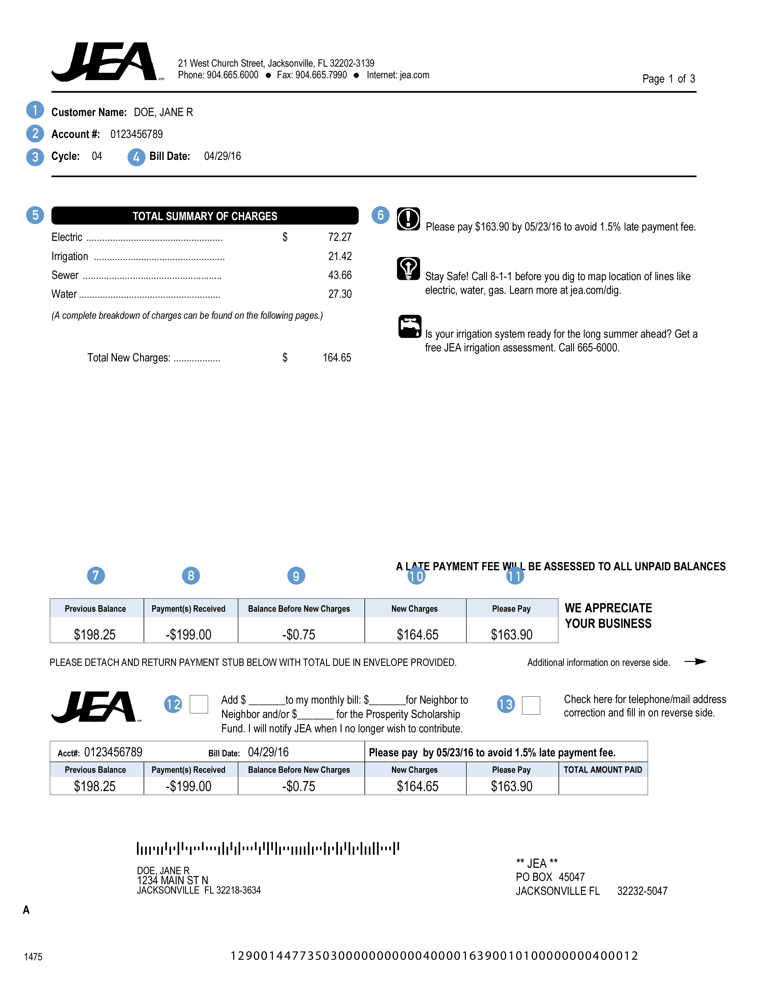 JEA bill page one