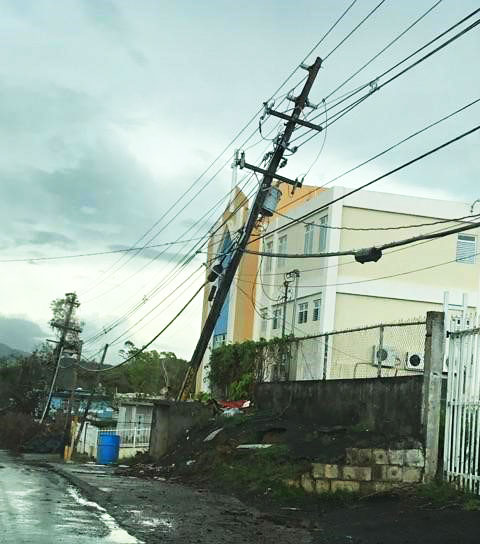 Leaning Power Pole in Puerto Rico