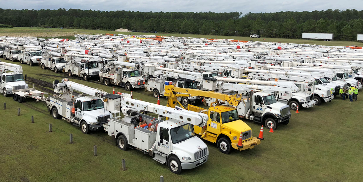 Utility Trucks Staging Area