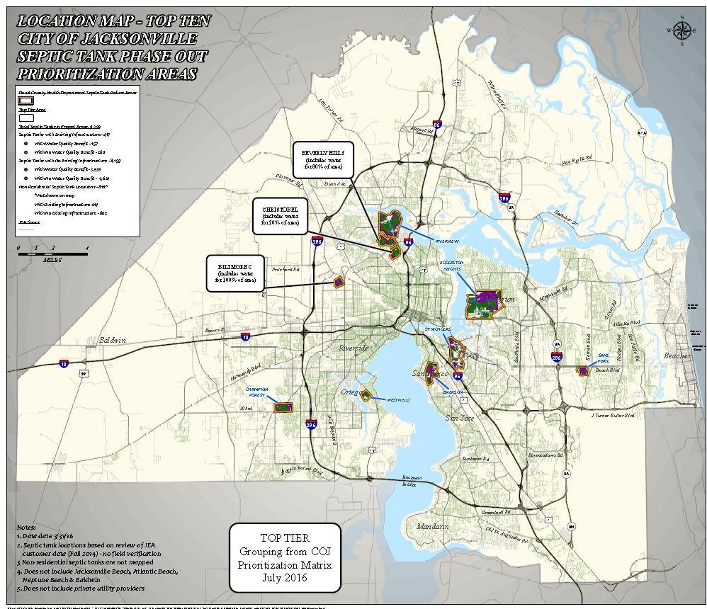 City of Jacksonville Septic Tank Phase Out Map