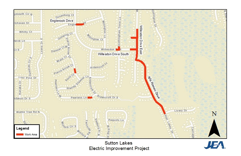 Sutton Lakes Electric Reliability Project Map of  Work Area