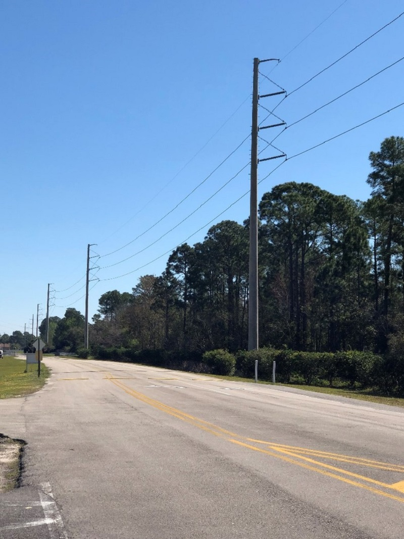 Transmission poles and lines near Patton Soccer Park